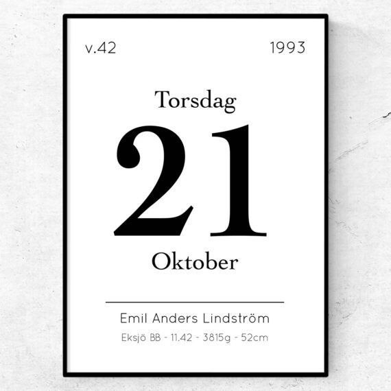 Födelsetavla almanacka poster