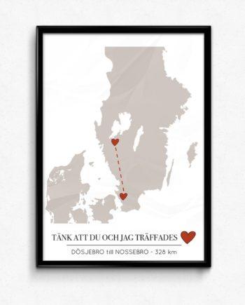 Kärlekskartan Södra Sverige poster