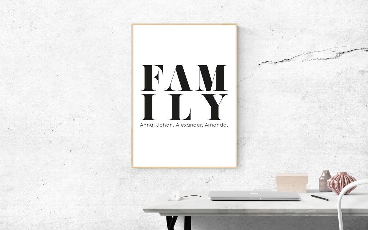 familjetavlor och familjeposters