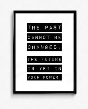 The past cannot be changed. The future is yet to be written poster