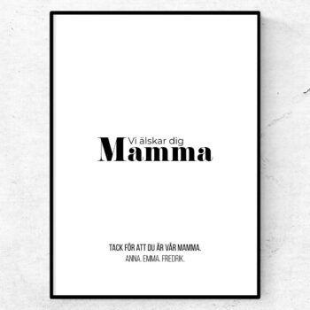 vi älskar dig mamma tavla poster mors dag present