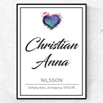 Bröllopstavla Christian & Anna