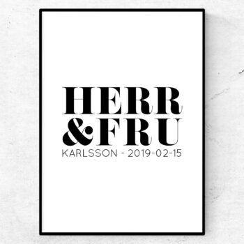 herr & fru karlsson bröllopstavla