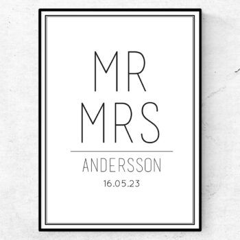 Mr & Mrs Andersson bröllopstavla