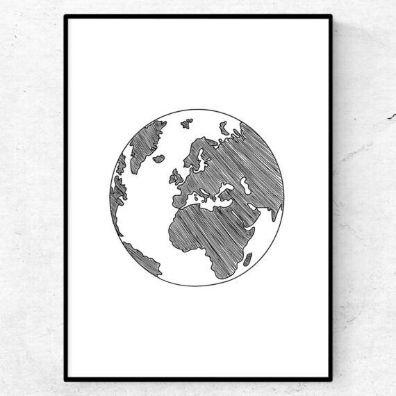 simple earth jorden jordglob tavla poster