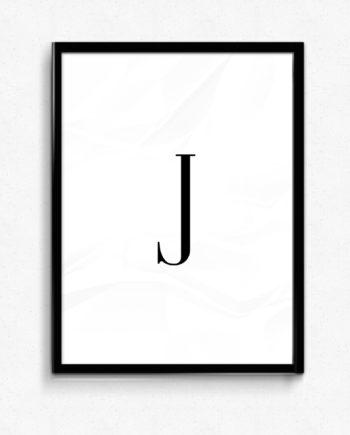 J bokstav letter poster
