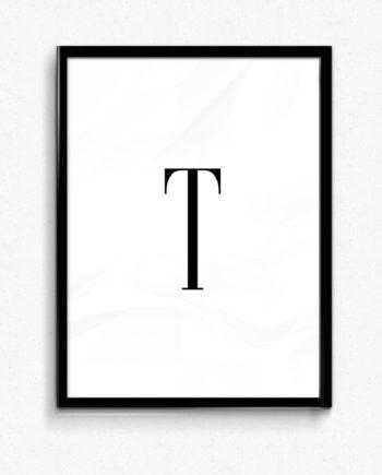 T bokstav letter poster