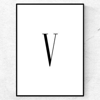 v bokstav letter poster