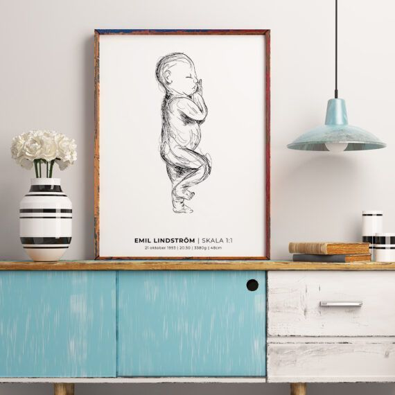 födelsetavla sketch skala 1:1 poster