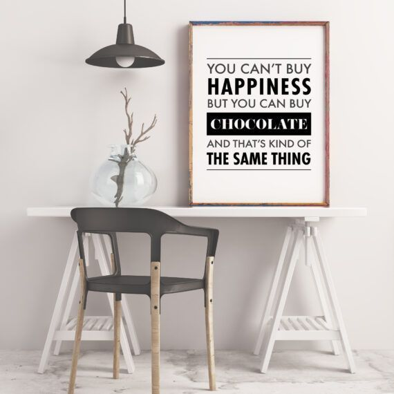 you can't buy happiness but you can buy chocolate and that's kind of the same thing poster tavla